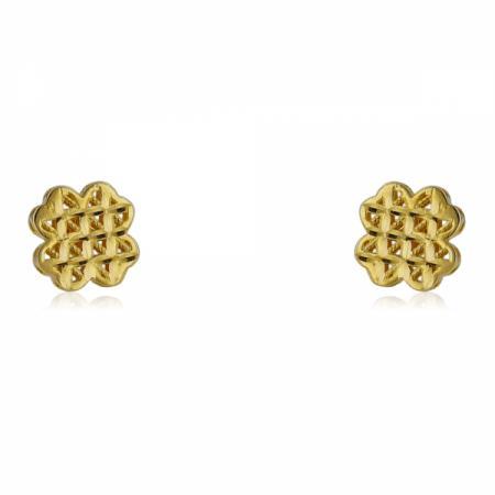 Златни обеци с поредни камъчета и вълнички