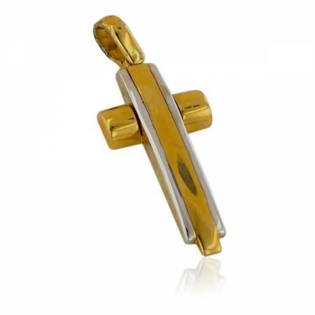 Масивни брачни халки от два цвята злато и циркони