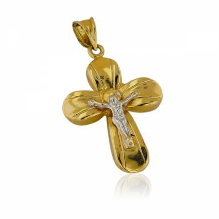 Златна любов с черни и бели камъни