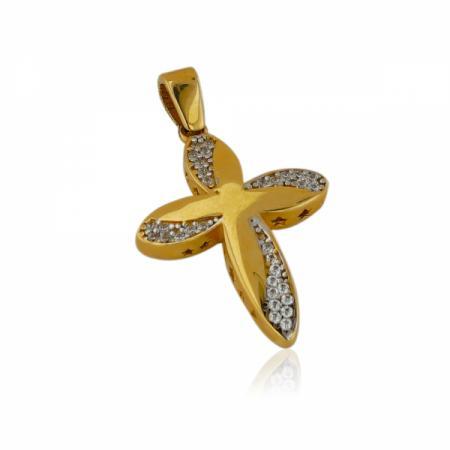 Нестандартен златен кръст от бяло и жълто злато