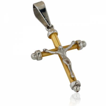 Дамски обеци на две нива и два цвята злато