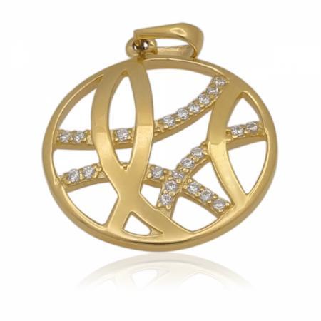 Златна висулка кръг с камъчета 213.00 лв.