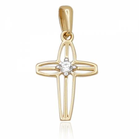 Златен кръст с централен циркон 0.00 лв.