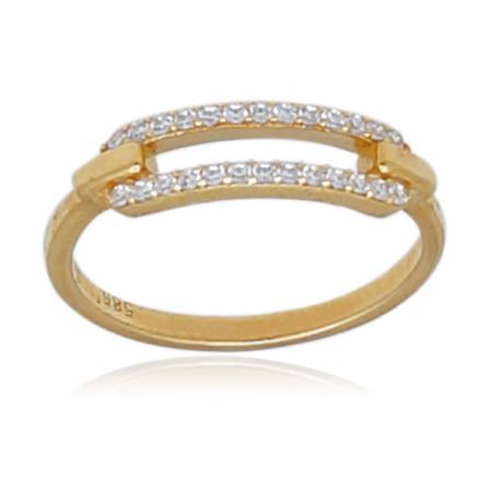 Комплект златни обеци и пръстен с бели циркони 0.00 лв.