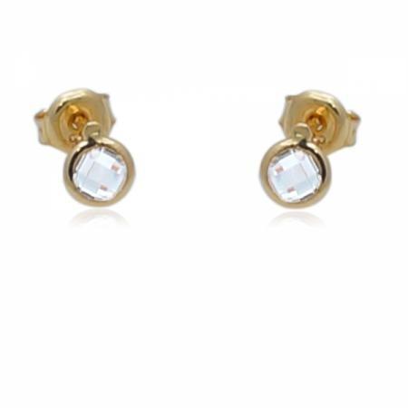 Малки златни обеци с циркони