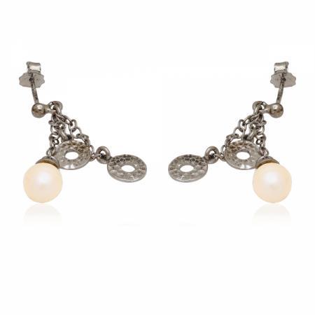 Красив сребърен пръстен с диагонални камъчета