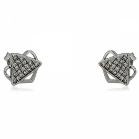 Сребърен пръстен с триъгълен камък