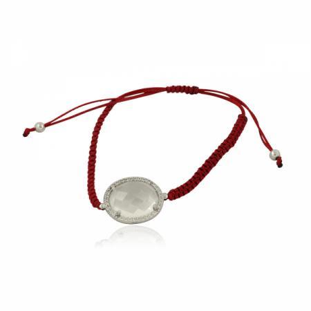 Сребърен комплект от обеци и пръстен с червен камък