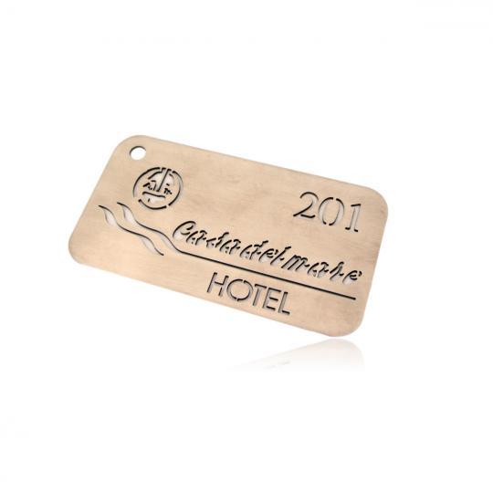 Лазерно изрязана хотелска карта от полирана неръждаема стомана