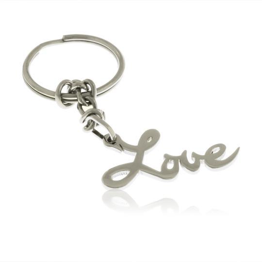 """Лазерно изрязан ключодържател """" Love """" от неръждаема стомана"""