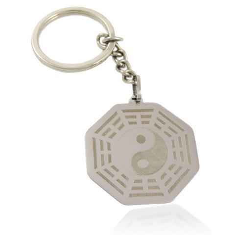 """Лазерно гравиран ключодържател """" Ин - Ян """" от неръждаема стомана"""