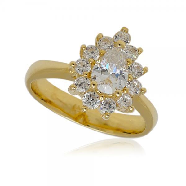 голям златен пръстен с много камъни цирконий