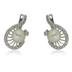 Златна твърда гривна с перли
